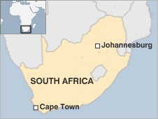Map of South Africa showing Cape Town