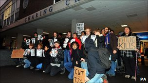 A vigil for Alfie Meadows outside Charing Cross Hospital