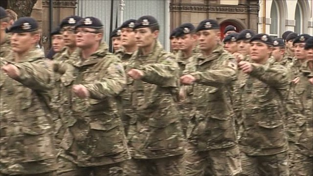 Troops marching through Nottingham
