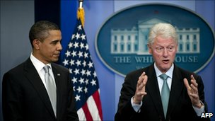 President Barack Obama and President Bill Clinton