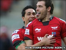 Sean Lamont receives the plaudits after the first of his two tries for the Scarlets