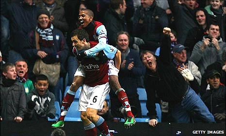 Villa celebrate their first goal