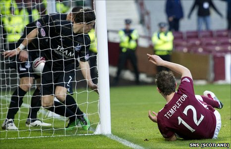 David Templeton scores for Hearts against Aberdeen