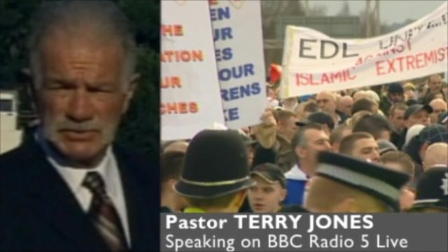 Pastor Terry Jones and graphic with protesters
