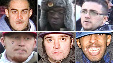Six suspects who are wanted for questioning by police