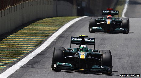 The Lotus Racing cars at the Brazilian Grand Prix