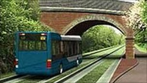 An artist&#039;s impression of the Cambridgeshire guided busway