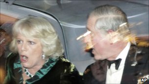 Charles and Camilla in car