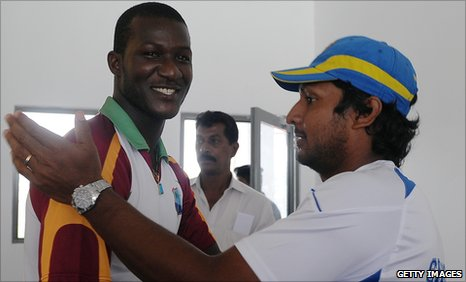 Captains Darren Sammy and Kumar Sangakkara shake hands after the third Test - and the series - are drawn