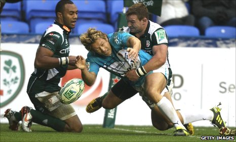Jonny Wilkinson was denied an early try by James Buckland's tackle