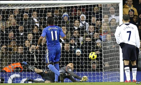 Heurelho Gomes saves from Drogba