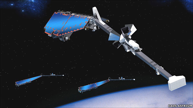Artist&#039;s rendering of a Swarm satellite (EADS Astrium)