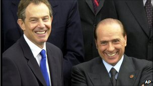 Silvio Berlusconi, right, with British Prime Minister Tony Blair during an EU summit in Barcelona in March 2002