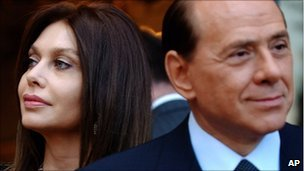 Silvio Berlusconi, right, and his wife Veronica Lario in June 2004
