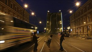 The giant phallus which Voina painted on the Liteiny Bridge in St Petersburg