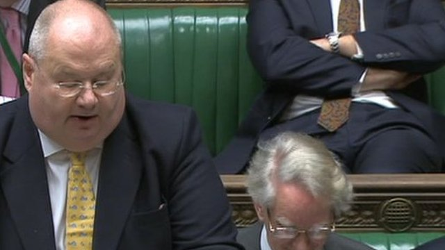 The Communities Secretary, Eric Pickles, addressing the Commons