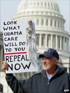 A man protests against the healthcare legislation in Washington (Nov 2010)