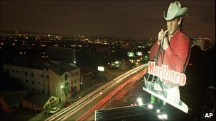Marlboro Man billboard above Sunset Strip, shown Sept 28, 1995, in West Hollywood, California