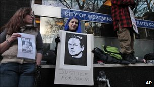 Protesters supporting Julian Assange outside City of Westminster Magistrates' Court