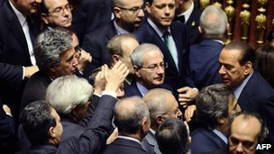 Mr Berlusconi's victory in the Senate vote had been expected