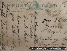 Postcard from World War I found hidden behind a wall