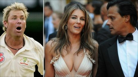 Australian cricketer Shane Warne (L) and British actress Liz Hurley () posing next to her husband Arun Nayar as they arrive at La Fenice Theatre in Venice on August 28, 2008