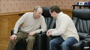 Vladimir Putin and Dmitry Medvedev. Photo: December 2010