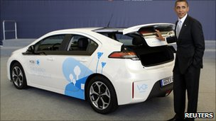 President Obama with an Ampera