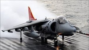 Harrier leaving the Ark Royal