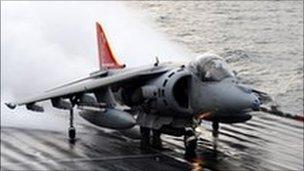 Harrier leaving the Ark Royal