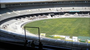The Maracana Stadium in Rio de Janeiro undergoing refurbishment for the 2014 World Cup Finals