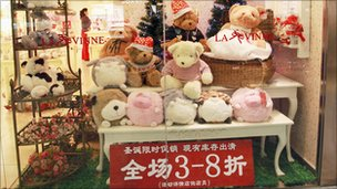 Toys in shop window. Photo: Yumo Chen