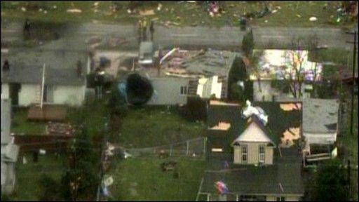 Homes damaged by tornado