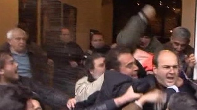 Greek MP Kostis Hatzidakis attacked as he left Parliament