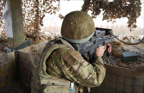 Milwr wrth ei waith yn Afghanistan