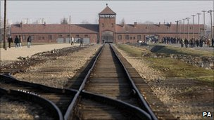 The railway lines that led into the Auschwitz-Birkenau concentration camp in Oswiecim, Poland (file photo)
