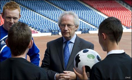 Former First Minister Henry McLeish talks football at Hampden