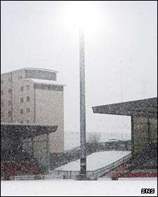 Partick Thistle's Firhill Stadium is covered in snow