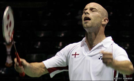 Robert Blair celebrates a victory for England