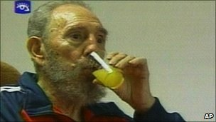 Television still of Fidel Castro drinking orange juice, 30 Jan 2007