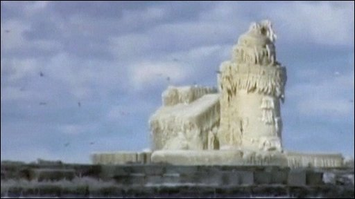 Frozen lighthouse in Ohio in America