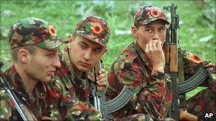 Kosovo Liberation Army (KLA) soldiers in Albania, May 1999