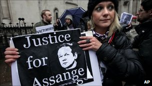 An Assange supporter