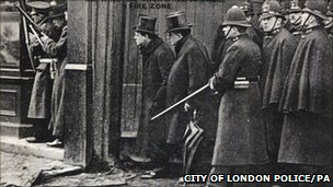 Winston Churchill (3rd left) during the Siege of Sidney Street which resulted from an incident in Houndsditch in the City of London