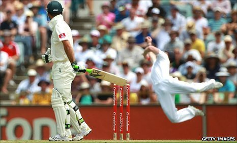 Australian captin Ricky Ponting watches as he is caught by Paul Collingwood