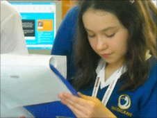 School Report anchor Mia writes and researches her script for the practice News Day