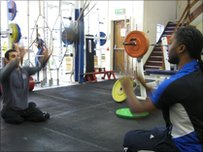 Powerlifter Ali Jawad shows Dekan the power of the 4kg medicine ball