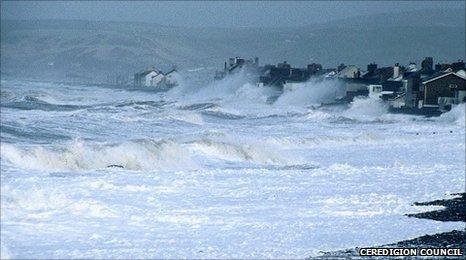 Storm yn Y Borth yn 1990