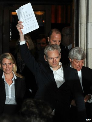 Julian Assange outside High Court in London