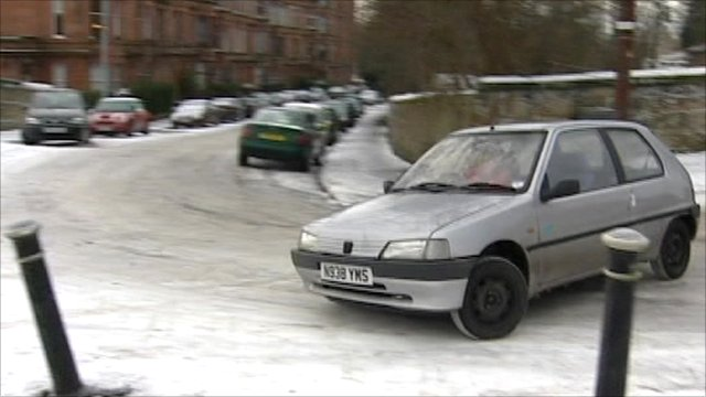 Car skidding on icy road